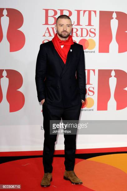 AWARDS 2018*** Justin Timberlake attends The BRIT Awards 2018 held at The O2 Arena on February 21 2018 in London England