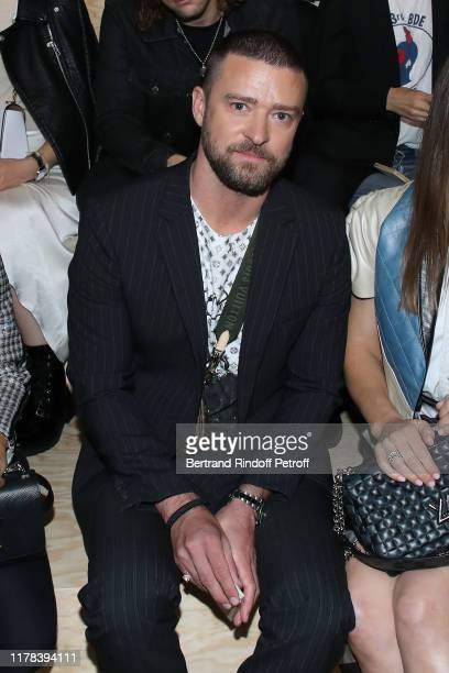 Justin Timberlake attends the Louis Vuitton Womenswear Spring/Summer 2020 show as part of Paris Fashion Week on October 01 2019 in Paris France