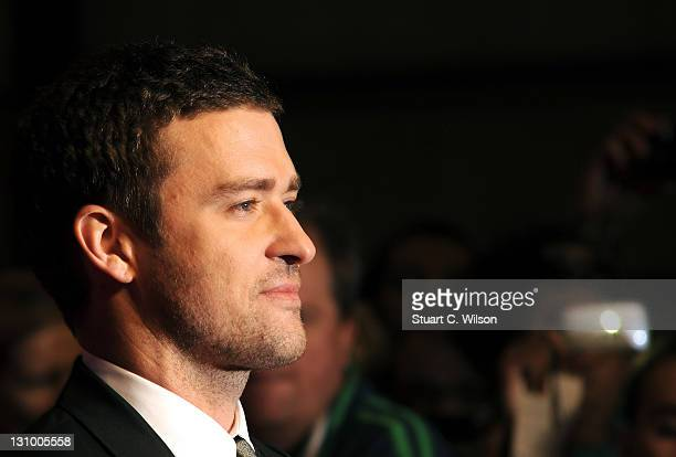Justin Timberlake attends the UK Premiere for 'In Time' at The Curzon Mayfair on October 31 2011 in London England