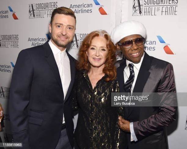 Justin Timberlake Bonnie Raitt and Nile Rodgers pose backstage during the Songwriters Hall Of Fame 50th Annual Induction And Awards Dinner at The New...