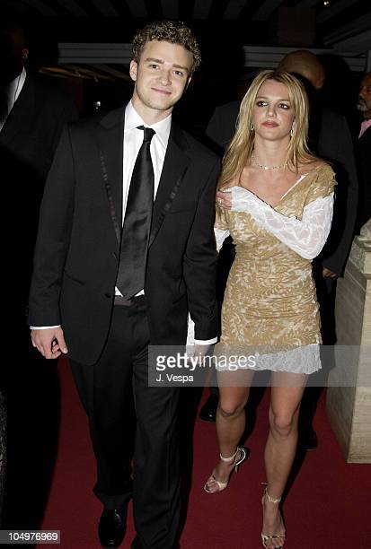 Justin Timberlake Britney Spears during The 44th Annual GRAMMY Awards Clive Davis PreGRAMMY Party at Beverly Hills Hotel in Beverly Hills California...