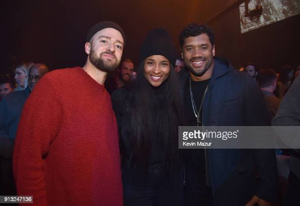 Justin Timberlake Ciara and Russell Wilson attend American Express Justin Timberlake Partner for Intimate Album Listening Experience Just Hours Ahead...