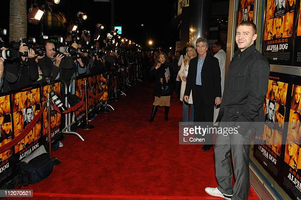Justin Timberlake during Alpha Dog Los Angeles Premiere Red Carpet at Arclight Cinemas in Hollywood California United States