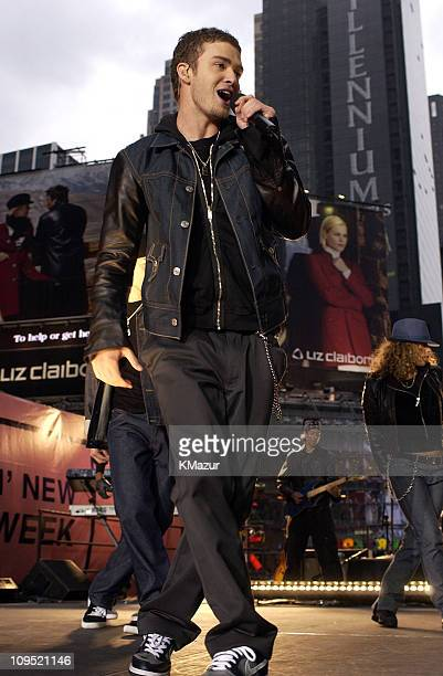 Justin Timberlake during Justin Timberlake Performs in Times Square As Part of MTV's Spankin New Music Week at Times Square in New York New York...