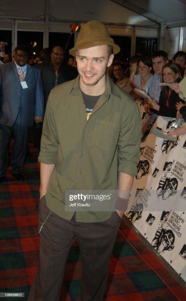 Justin Timberlake during MTV Europe Music Awards 2003 - Arrivals at Ocean Terminal Arena in Edinburgh, Scotland.