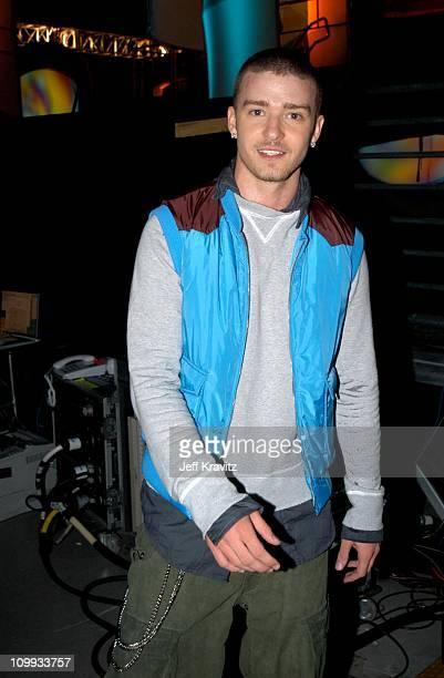 Justin Timberlake during Nickelodeon's 16th Annual Kids' Choice Awards 2003 Backstage at Barker Hangar in Santa Monica CA United States