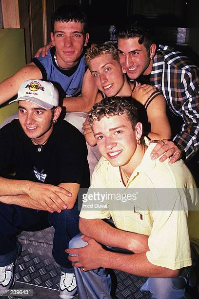 Justin Timberlake during N'Sync London show case 1997 at L'Equipe Anglaise in London in London United Kingdom