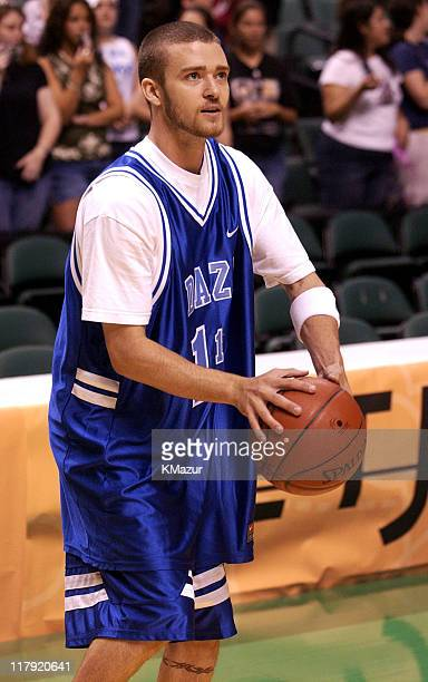 Justin Timberlake during NSYNC's Challenge for the Children V PreGame Shoot Around at Office Depot Center in Fort Lauderdale Florida United States