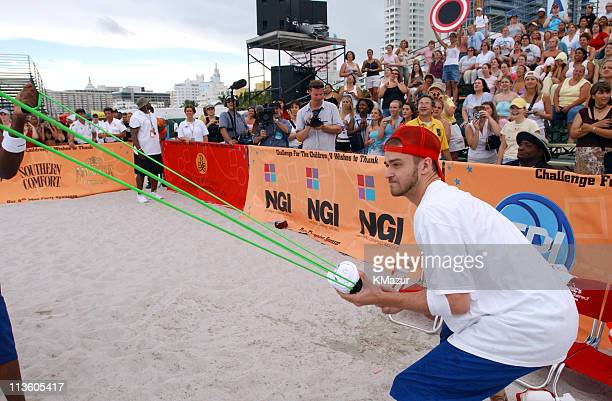 Justin Timberlake during *NSYNC's Challenge for the Children V Celebrity Skills Challenge at Collins Park in Miami Beach Florida United States