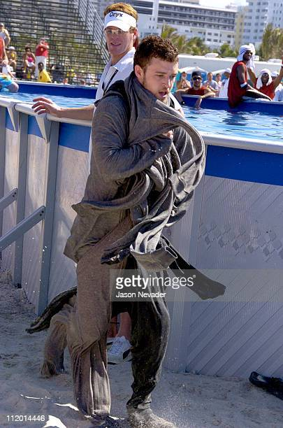 Justin Timberlake during *NSYNC's Challenge for the Children VI Day 2 Skills Challenge at Miami Beach in Miami Florida United States