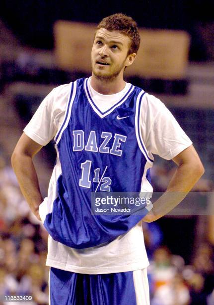 Justin Timberlake during *NSYNC's Challenge for the Children VI Day 3 Basketball Game at Office Depot Center in Sunrise Florida United States