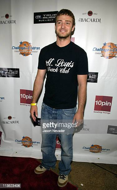 Justin Timberlake during *NSYNC's Challenge for the Children VII Celebrity Bowling Arrivals at 10pin in Chicago Illinois United States