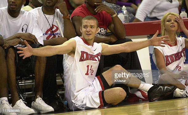 Justin Timberlake during Top stars join *NSYNC for the 3rd annual Challenge for the Children basketball charity event featuring celebrity team...