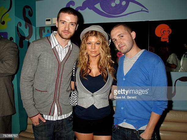 Justin Timberlake Fergie and Trace Ayala attend the UK launch of Justin Timberlake's new clothes range 'William Rast' at Harvey Nichols on July 9...