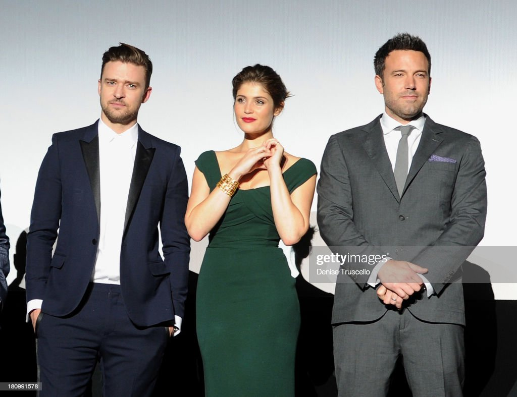 Justin Timberlake, Gemma Arterton and Ben Affleck during the world premiere of Runner Runner at Planet Hollywood Resort & Casino on September 18, 2013 in Las Vegas, Nevada.