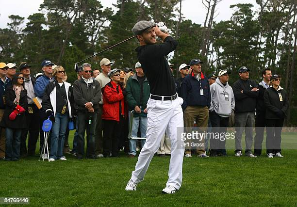 Justin Timberlake hits his second shot on the sixth hole during the first round of the AT&T Pebble Beach National Pro-Am at the Spyglass Hill Golf...