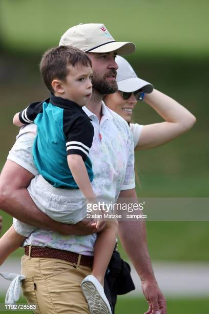 Justin Timberlake holds his son Silas next to his wife Jessica Biel ahead of the ProAm prior to the start of the Omega European Masters at at Crans...