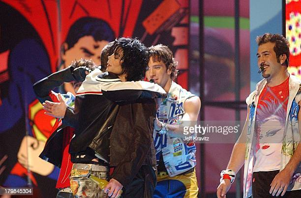 Justin Timberlake hugs Michael Jackson during 2001 MTV Video Music Awards Show at Metropolitan Opera House in New York City New York United States