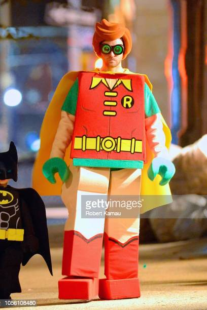 Justin Timberlake in a Lego Robin costume is seen out and about for Halloween with the Kids on October 31 2018 in New York City