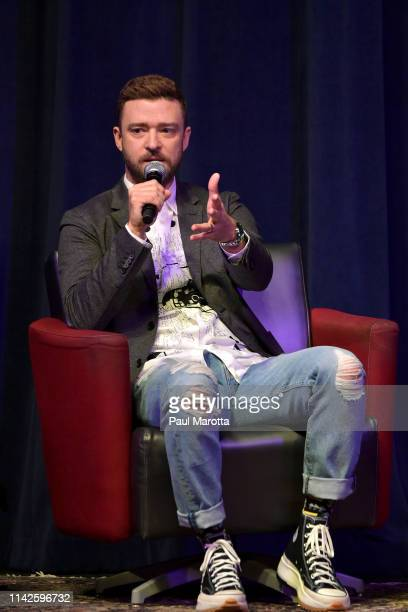 Justin Timberlake is interviewed by Vice President for Innovation and Strategy; Managing Director of BerkleeICE Panos Panay at Berklee College of...
