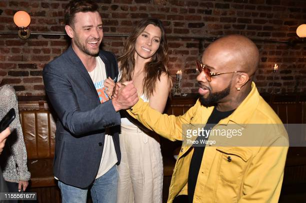 Justin Timberlake Jessica Biel and Jermaine Dupri attend dinner in celebration of Dallas Austin being inducted into the Songwriters Hall of Fame at...