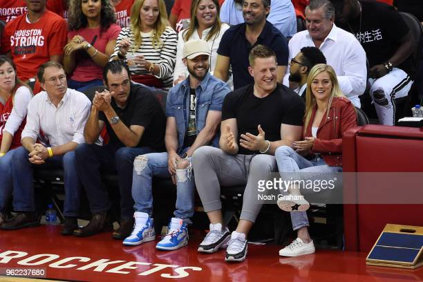 Justin Timberlake JJ Watt and Kealia Ohai enjoy Game Five of the Western Conference Finals during the 2018 NBA Playoffs between the Golden State...