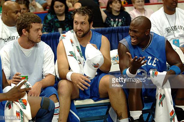 Justin Timberlake Joey Fatone and Taye Diggs during *NSYNC's Challenge for the Children VII Celebrity Basketball Game at Allstate Arena in Chicago...