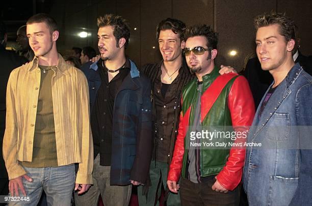 Justin Timberlake Joey Fatone Joshua Chasez Chris Kirkpatrick and Lance Bass of pop group 'N Sync arrive for Michael Jackson's 30th Anniversary...