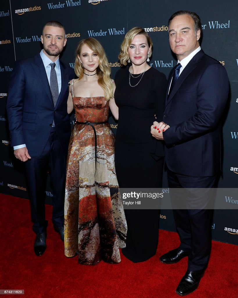 Justin Timberlake, Juno Temple, Kate Winslet, and Jim Belushi attend the premiere of 'Wonder Wheel' at Museum of Modern Art on November 14, 2017 in New York City.