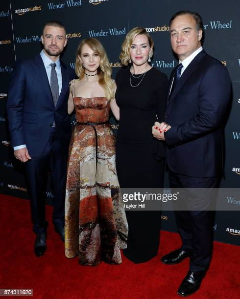 Justin Timberlake Juno Temple Kate Winslet and Jim Belushi attend the premiere of 'Wonder Wheel' at Museum of Modern Art on November 14 2017 in New...