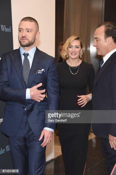 Justin Timberlake Kate Winslet and Jim Belushi attend the 'Wonder Wheel' New York screening at the Museum of Modern Art on November 14 2017 in New...