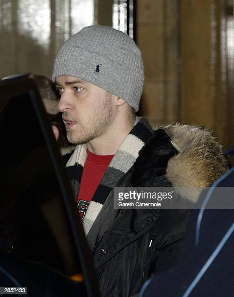 Justin Timberlake leaves the Landmark Hotel January 8 2004 in Central London England