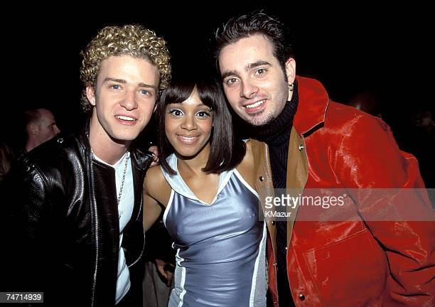 Justin Timberlake Lisa Left Eye Lopes and Chris Kirkpatrick photographed during Nsync No String Attached album release party in New York Lopes was...