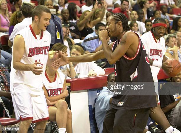 Justin Timberlake Ludacris during Top stars join *NSYNC for the 3rd annual Challenge for the Children basketball charity event featuring celebrity...