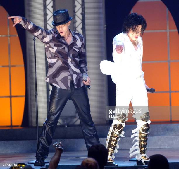 Justin Timberlake Michael Jackson during Michael Jackson's 30th Anniversary Celebration Show at the Madison Square Garden in New York City New York