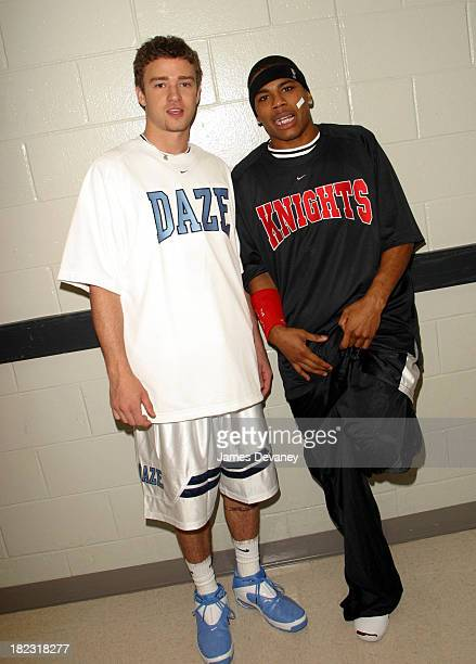 Justin Timberlake of 'N Sync and Nelly during *NSYNC Challenge for the Children IV Celebrity Basketball Game at TD Waterhouse Centre in Orlando...