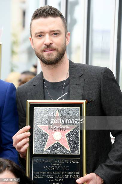 Justin Timberlake of NSYNC is honored with a star on the Hollywood Walk of Fame on April 30 2018 in Hollywood California