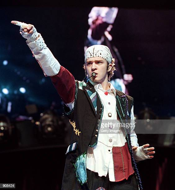 Justin Timberlake of the pop music group ''N Sync performs in concert during the group's 2000 world tour in July
