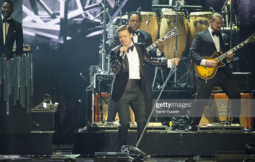 Justin Timberlake peforms live on stage during the Brit Awards 2013 at 02 Arena on February 20, 2013 in London, England.