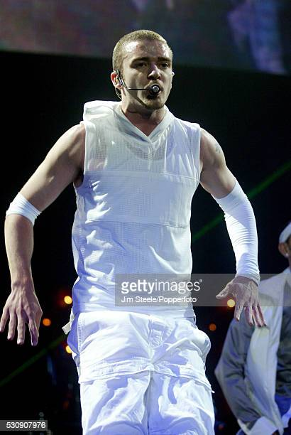Justin Timberlake performing on stage at Wembley Arena in London on the 15th May, 2003.
