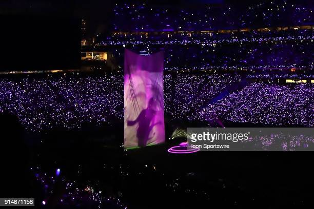 Justin Timberlake performs a tribute to Prince during the Pepsi Super Bowl Halftime Show of Super Bowl LII on February 4 at US Bank Stadium in...