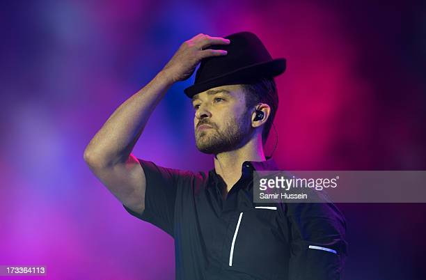 Justin Timberlake performs as he headlines the main stage on day 1 of the Yahoo Wireless Festival at Queen Elizabeth Olympic Park on July 12 2013 in...