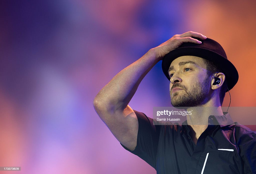 Justin Timberlake performs as he headlines the main stage on day 1 of the Yahoo! Wireless Festival at Queen Elizabeth Olympic Park on July 12, 2013 in London, England.