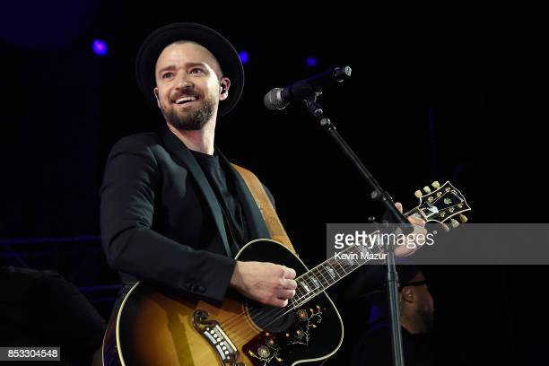 Justin Timberlake performs at A Concert for Charlottesville at University of Virginia's Scott Stadium on September 24 2017 in Charlottesville...