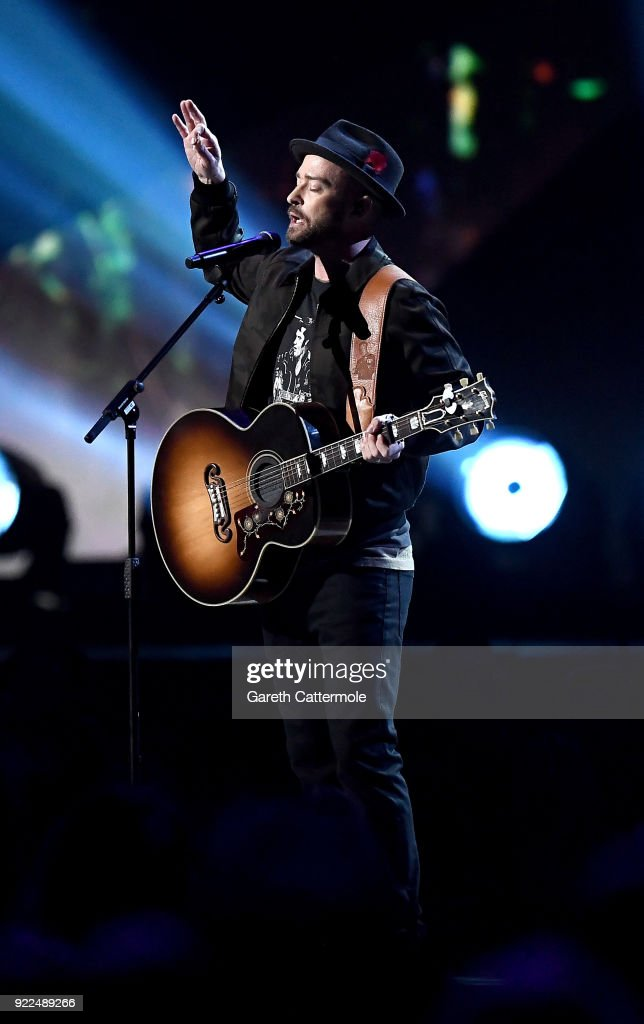 Justin Timberlake performs at The BRIT Awards 2018 held at The O2 Arena on February 21, 2018 in London, England.