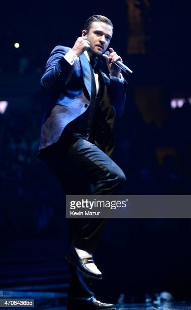 Justin Timberlake performs during the '20/20 Experience' Tour at Madison Square Garden on February 20 2014 in New York City