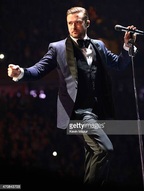 Justin Timberlake performs during the 20/20 Experience Tour at Madison Square Garden on February 20 2014 in New York City
