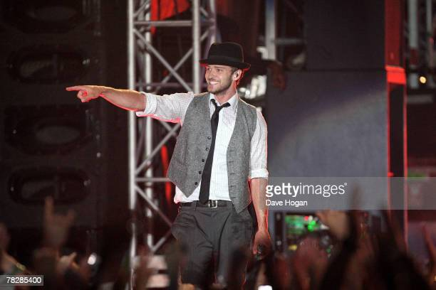 Justin Timberlake performs on stage at the closing night of his FutureSex/LoveShow World Tour in the grounds of Emirates Palace Hotel on December 6...