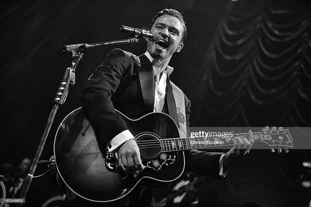 Justin Timberlake performs on stage at The Forum on February 20, 2013 in London, England.
