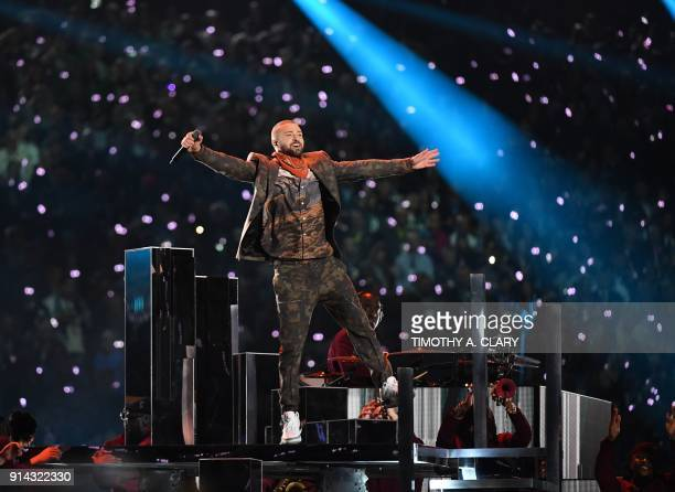 TOPSHOT Justin Timberlake performs on stage during the Super Bowl LII halftime show at the US Bank Stadium in Minneapolis Minnesota February 4 2018 /...